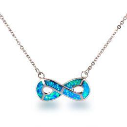 Halskette mit Unendlichkeit-Symbol, 925 Silber Rhodium und synth. Opal türkis blau, Infinity Anhänger