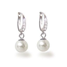 Feine Perlenohrringe 925 Silber Rhodium mit 8mm großen weißen synth. Perlen