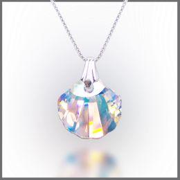 925 Silberkette mit Swarovski® Kristall Muschel Anhänger in Crystal Aurora Boreale