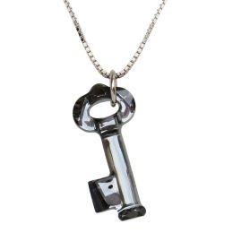 925 Silber Halskette mit Schlüssel Anhänger aus Swarovski® Kristall Silver Night,gau,anthrazit
