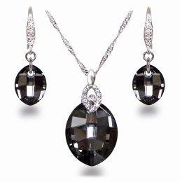 Schmuckset aus 925 Silber Rhodium mit Swarovski® Kristall Leaf in Silver Night