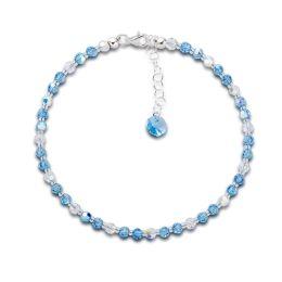 Fußkette aquamarin blau aus funkelnden Swarovski® Kristallperlen und 925 Silber