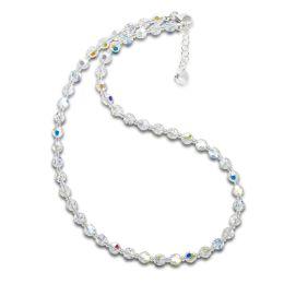 Collier, Halskette aus 6mm Swarovski® Kristallperlen, Farbe: Crystal Aurora Boreale, 925 Silber