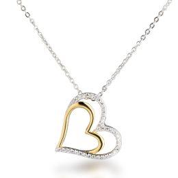 Neu: Halskette mit Herz Anhänger 925 Silber teil-vergoldet bicolor gelbgold