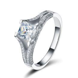 Damen-Ring 925 Sterling Silber rhodiniert mit quadratischem Zirkonia weiß