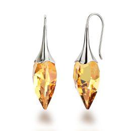 Ohrringe 925 Silber Rhodium mit Swarovski® Kristall Twisted Drop metallic-sunshine gelb Ohrhänger