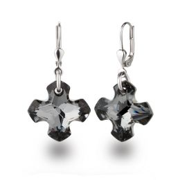 Kreuz Ohrringe 925 Silber mit Swarovski® Kristall Greek Cross in Silver Night, grau, anthrazit, Ohrhänger