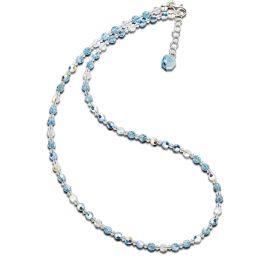 Neu: Feine Halskette in Aquamarin aus 4mm Kristallperlen von Swarovski® Verschluss 925 Silber