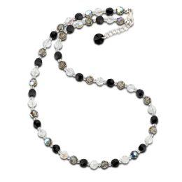 Collier, Halskette aus 6mm Swarovski® Kristallperlen in schwarz,grau und crystal, Verschluss: 925 Silber