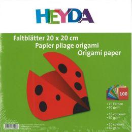 Faltblätter, Origami, Kusudama 20 x 20 cm uni 100 Blatt; 10 Farben