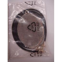 Anhänger mit Siebeinlage versilbert incl. Schmuckband 32 x 43 mm oval
