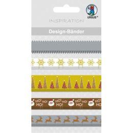Designbänder 5 x 90 cm Weihnachten klassik braun/creme Töne