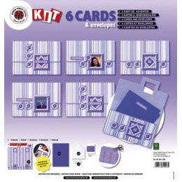 Bastelset: 6 Karten und Kuverts, flieder + Zubehör