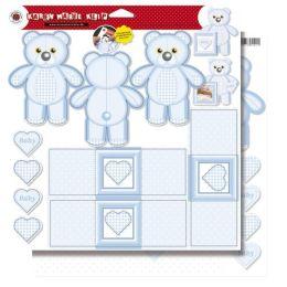 Teddies mit Karten, Stanzbogen, 30,5x30,5 cm, SB-Btl. 1 Bogen = 1 Stück, babyblau, beidseitig bed. (