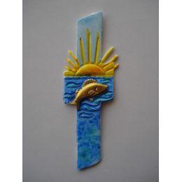 Wachsdekor Kreuz +Fisch+Sonne