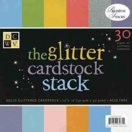Cardstock stack Solid glitter 30,5X30,5 cm / 30 Bogen