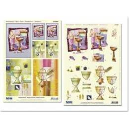 3D-Stanzbogenset Moderne, religiöse Motive mit Golddruck, 1 Motivbogen und 1 Stanzbogen, Format A4