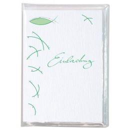 Fischsymbol grün Einladung 6 Karten und 6 Umschläge