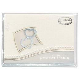 Zwei Herzen im Rahmen Einladung 6 Karten / 6 Kuvert / 6 Einleger