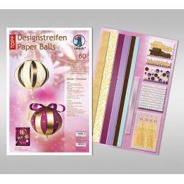 Designstreifen Paper Balls Set Golden Christmas