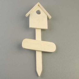 Holzstecker Haus, H 38 x 13 x 2.5 cm, roh