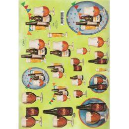 3-D Ausschneidebogen Bier für Männerkarten