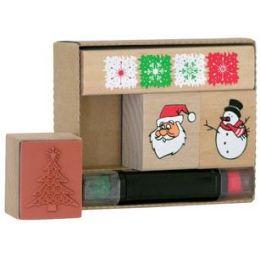 Motivstempel-Set Weihnachten, 4-teilig ? Motivstempel aus Holz ? inkl. Stempelkissen in rot und gr