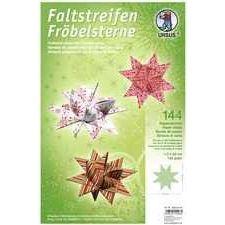 Fröbelsterne Faltpapierstreifen für Fröbelsterne grün/rot/weiß in 2 Größen