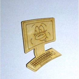 Computer Kleinteil aus Holz mit Gesicht