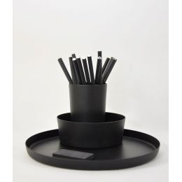 Utensilo Triple - elegantes Schalenset aus schwarz lackiertem Aluminium