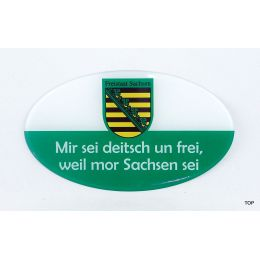Aufkleber Ostprodukte Ossi Sachsen Spruch Mir sei deitsch un frei, weil mor Sachsen sei!