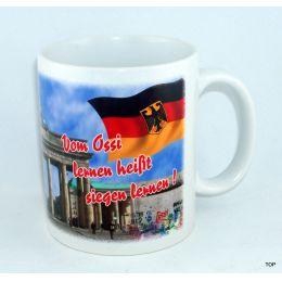 Tasse 1989 Mauerfall Vom Ossi lernen heißt siegen lernen! Kaffeetasse KaffeebecherKeramik