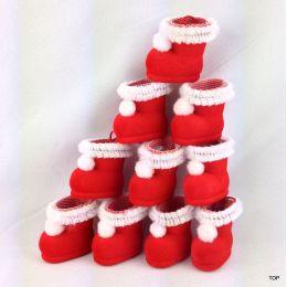 10 winzige Nikolausstiefel Mini Weihnachtsstiefel, Stiefel  im samtigen rot mit Netz und Hänger Weihnachtsdeko