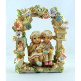 Kinderpaar Nizza Girlandenbogen Steinharz 2 Motive Geschenkidee Deko pastellfarbig glasiert