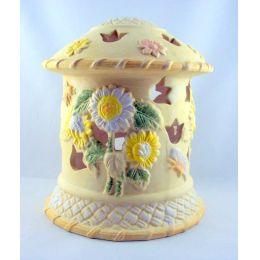 Großes Windlicht Lichterhaus Keramik verziert Geschenkidee Deko Teelichthalter pastellfarbig