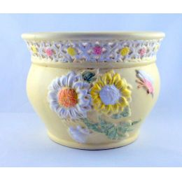 Großes Postament Keramik verziert Geschenkidee Deko 2-teilig pastellfarbig