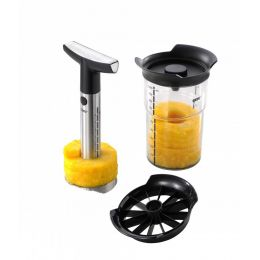 Ananasschneider Professional Plus mit Vorratsbehälter und Stückchenschneider Ananas schneiden