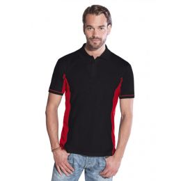 Promodoro Men´s Function Contrast Polo schwarz - rot, Gr. S