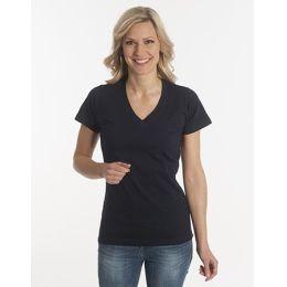 Damen T-Shirt Flash-Line, V-Neck, schwarz, Grösse 3XL