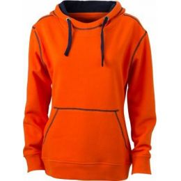 JN Ladie´s Lifestyle Zip-Hoody dark orange - navy , Grösse L
