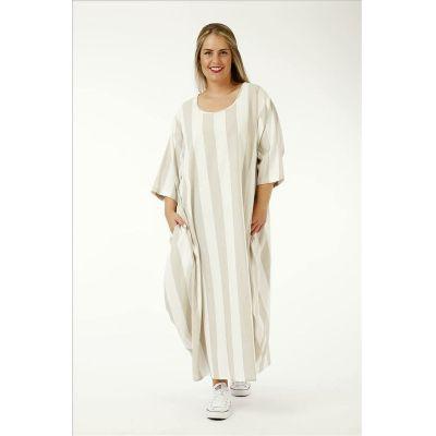 Online-Shop c1d99 7775d Beige-weiß, Einheitsgröße - Lagenlook Kleider große Größen Streifen