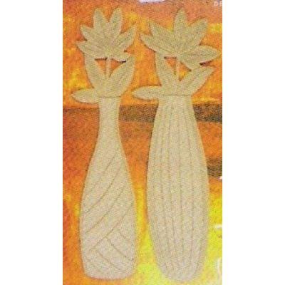 2 Bauchige Vasen mit BLUMEN MDF | 69180000 / EAN:4003855643497