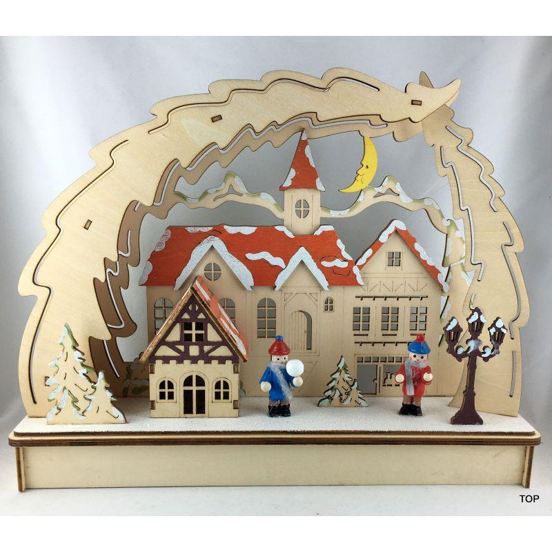 Weihnachtsdeko Schwibbogen.Led Band Lichterbogen Schwibbogen Holz Stimmungsleuchter Fensterbild