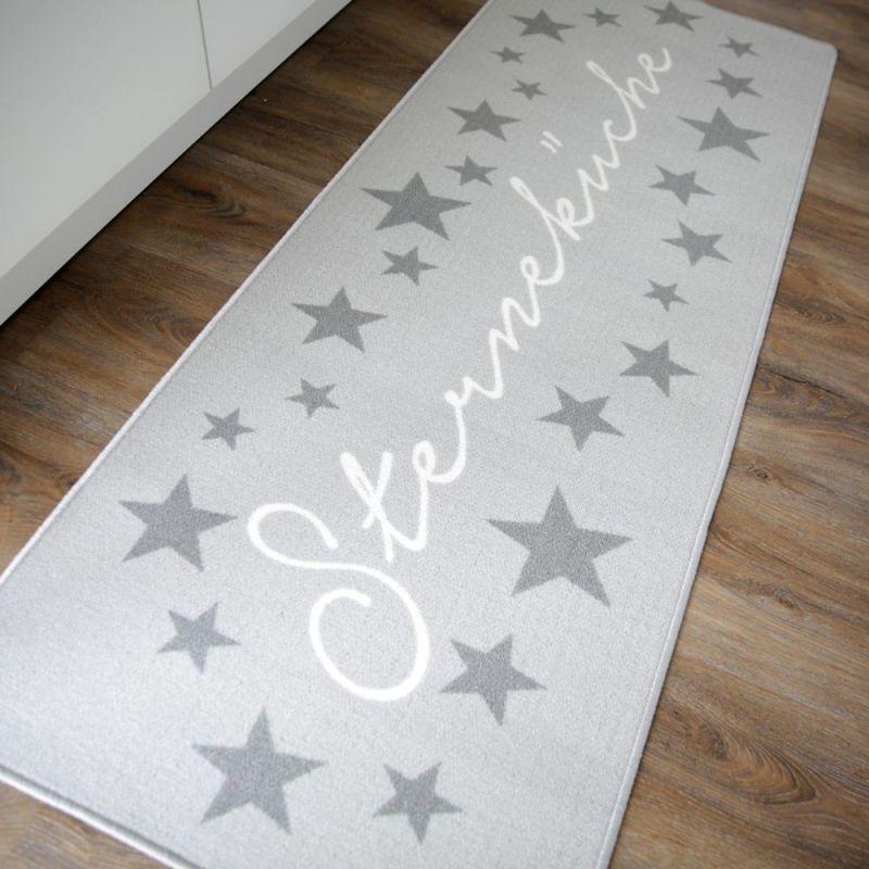 Küchenläufer Sterneküche hellgrau Teppich Küche Läufer Sterne 180 x ...