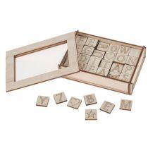 Holz-Buchstaben und Zahlen, 122-teilig (2 x 2 cm)