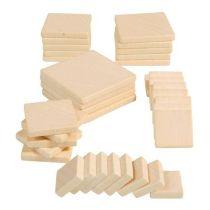 Holz-Quadrate, 35 Stück (1,5 - 4 cm)