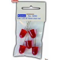 Kemo LED Ø 10mm klar-rot ca. 5 Stück