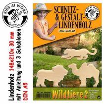 KIDS AT WORK Schnitzholz Wildtiere 2, groß