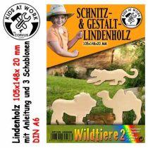 KIDS AT WORK Schnitzholz Wildtiere 2, klein