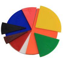 Runde Bruchrechenteile in 10 Farben